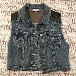 Women's Denim/Faux Leather Vest